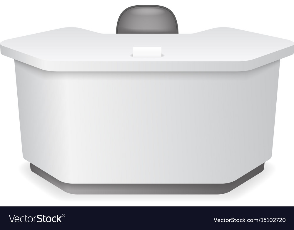 Reception office table with chair realistic 3d vector image