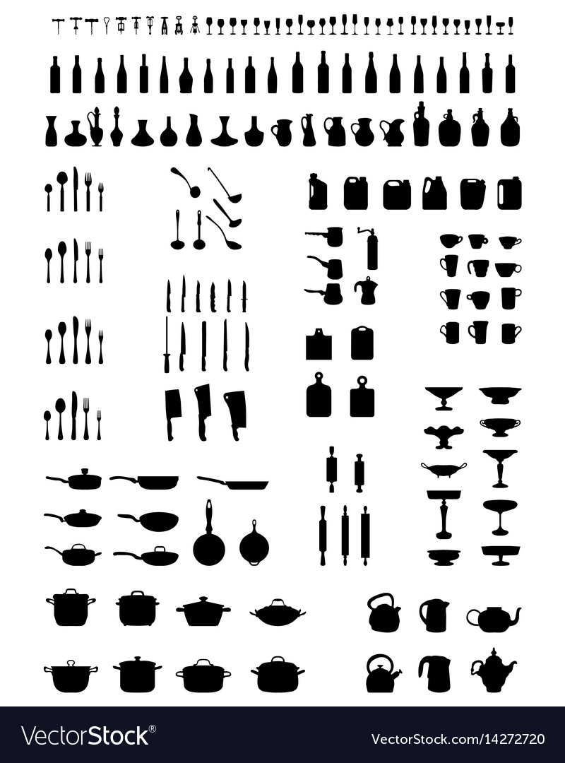 Silhouettes of kitchenware