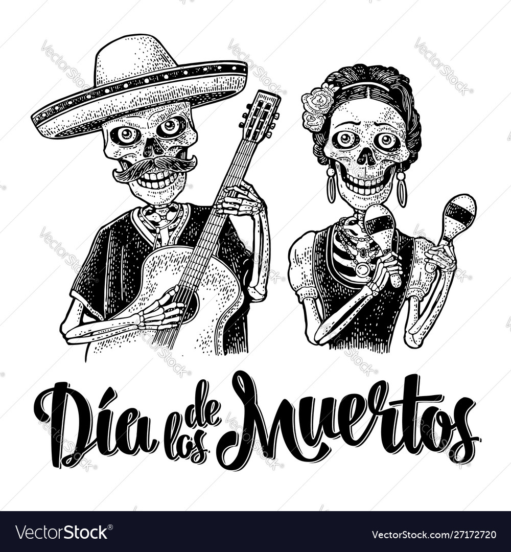 Skeletons with maracas and guitar dressed in