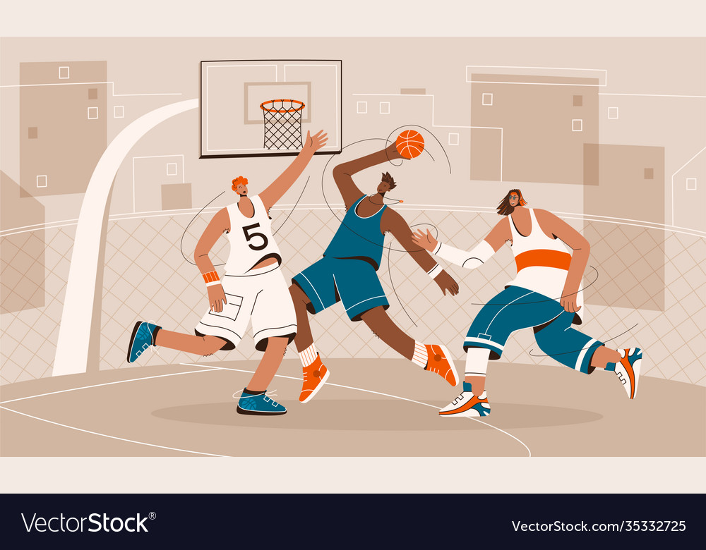 Basketball players playing on playground