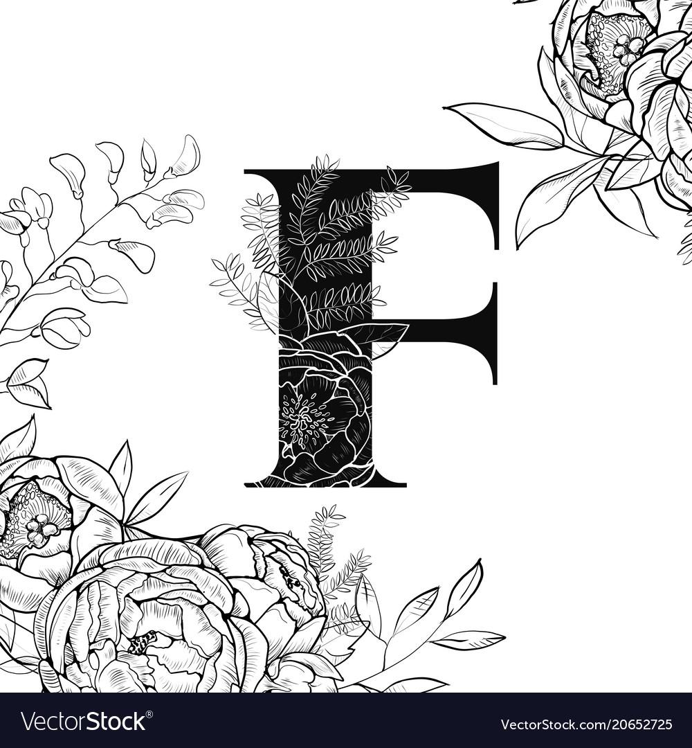 Flower alphabet letter f pattern