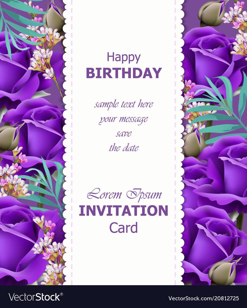 Happy birthday violet roses background