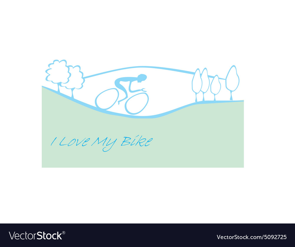 I love my bike card vector image
