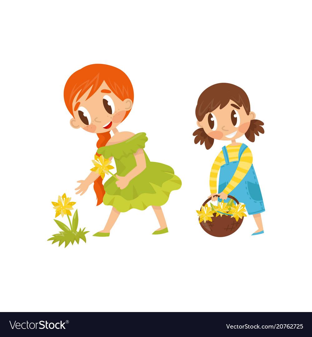 Little kids picking flowers cute girl holding
