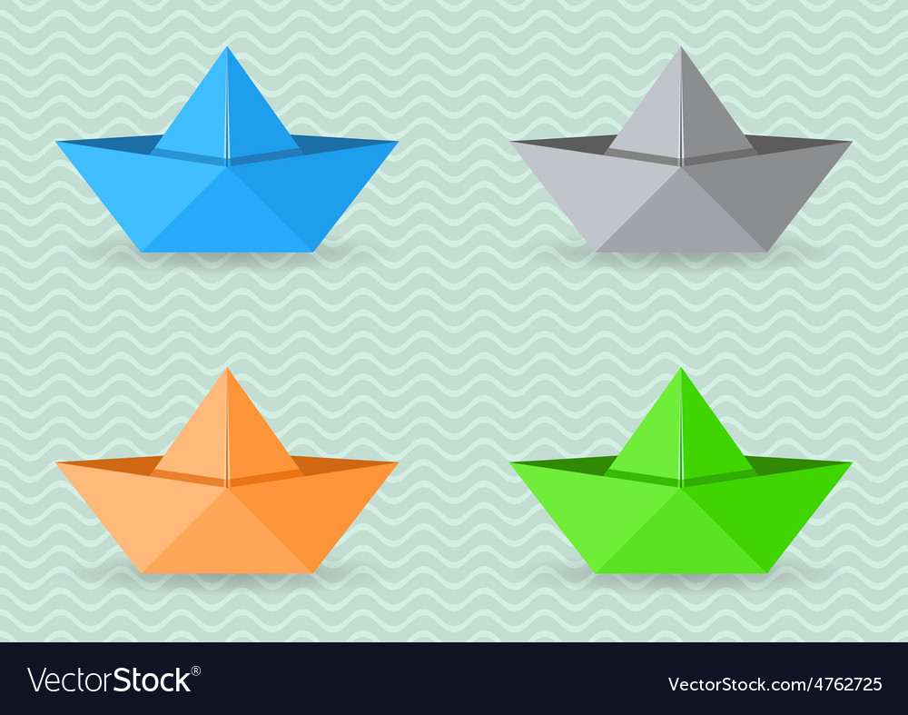 Paper Origami Boats Royalty Free Vector Image Vectorstock