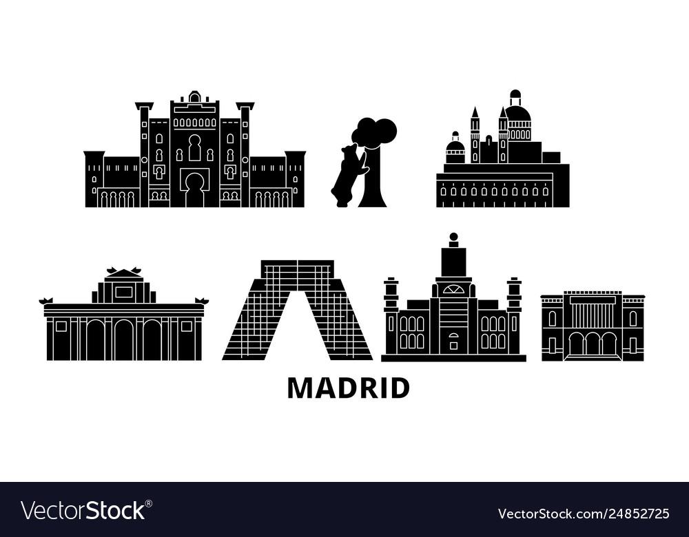 Spain madrid flat travel skyline set spain