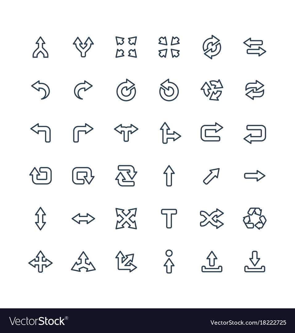 Thin line icons set with arrows direction