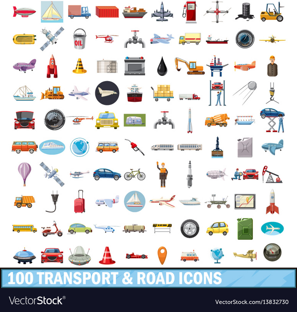 100 transport and road icons set cartoon style