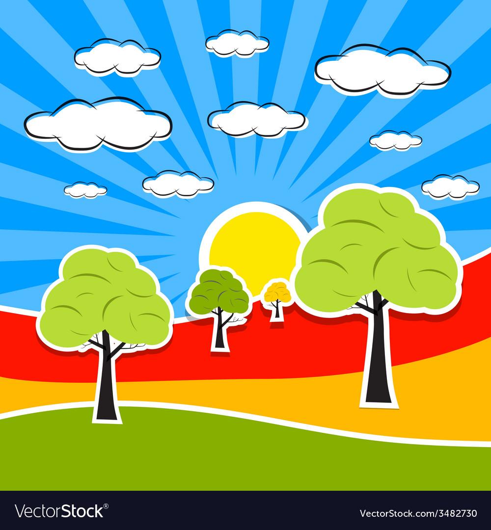 Abstract Retro Landscape vector image