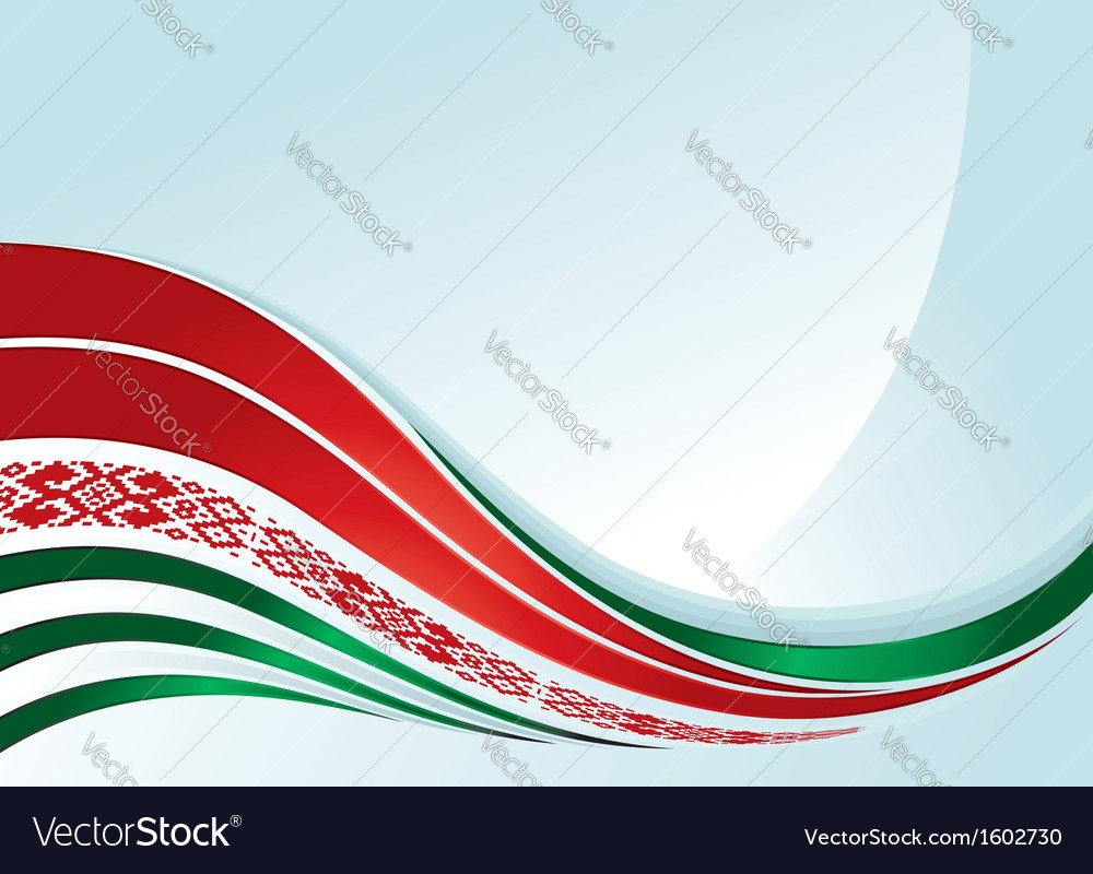 Belarus flag design with line and ornament