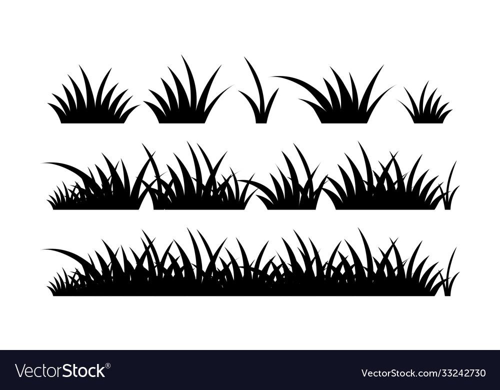 Black Silhouette Grass Horizontal Border Vector Image