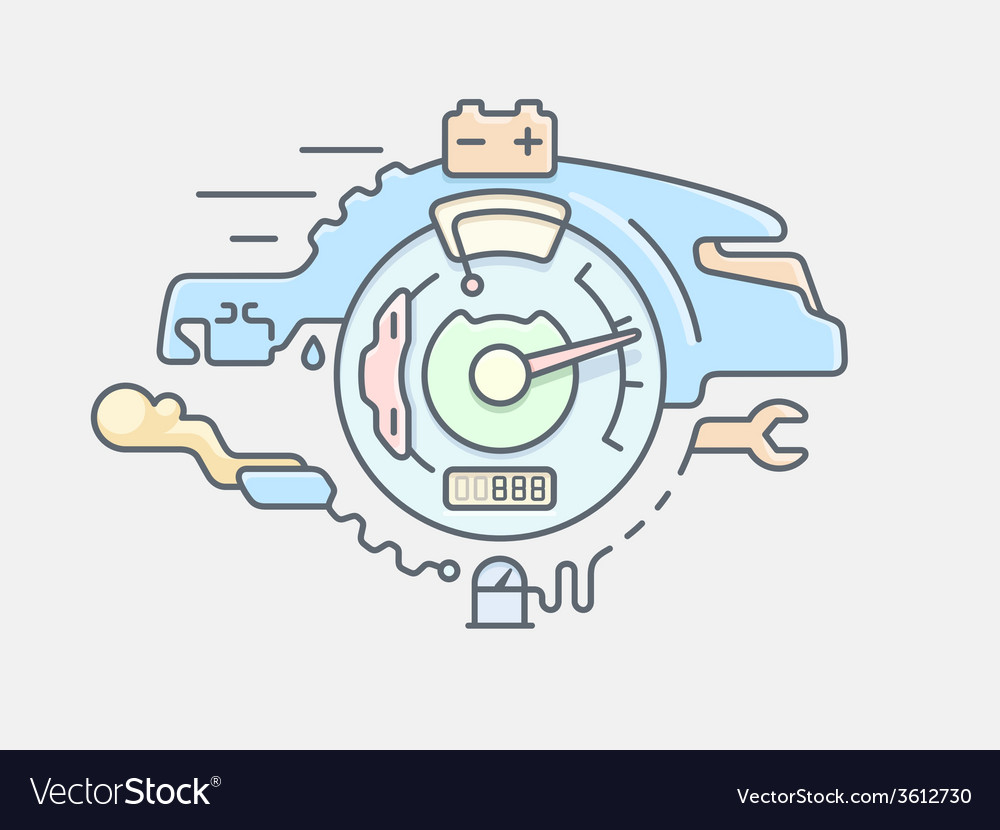 Car service line flat vector image