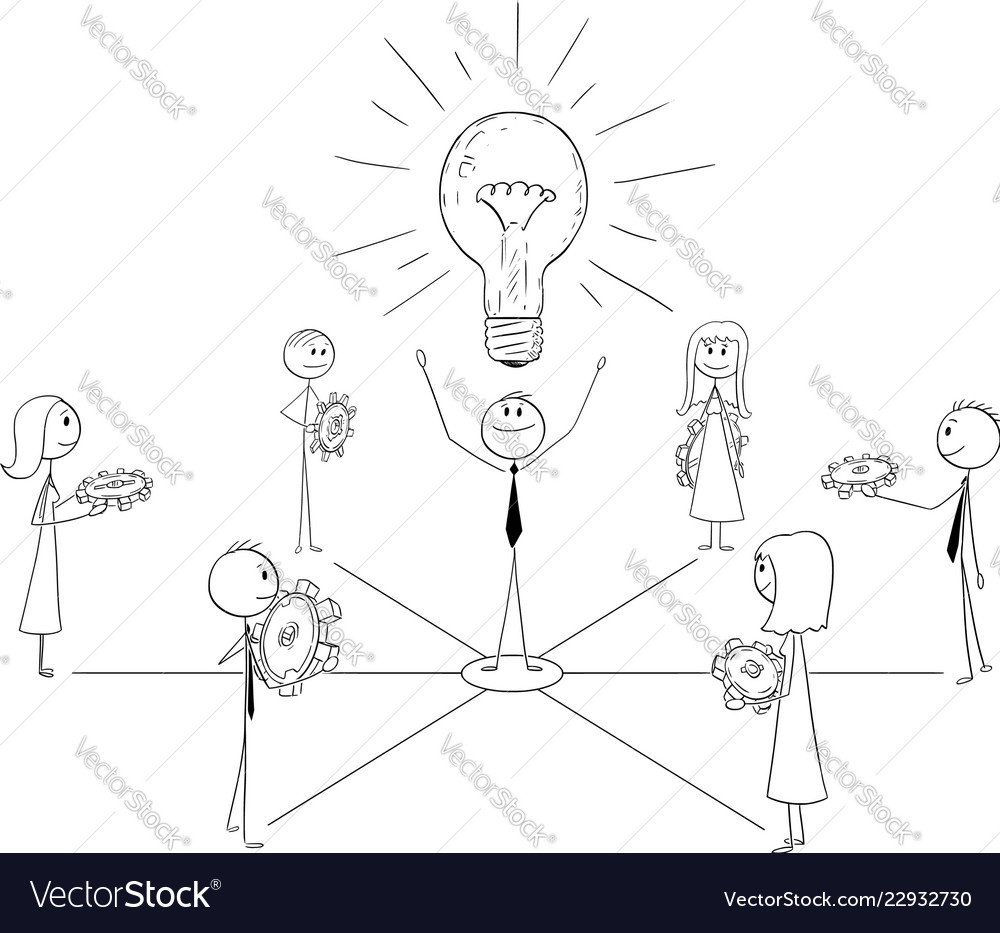 Cartoon of business team and leader working togeth