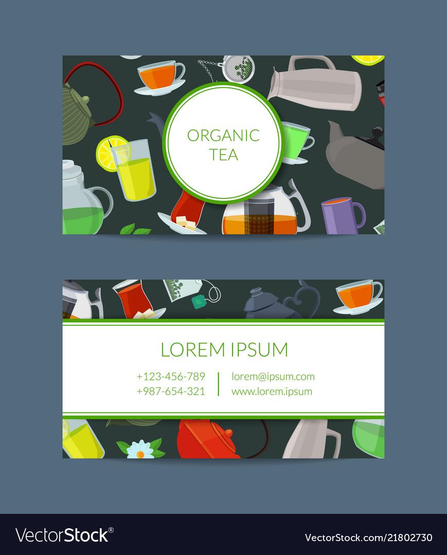 Cartoon tea kettles and cups business card