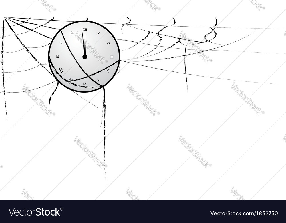 Clock entangled in spiderweb vector image