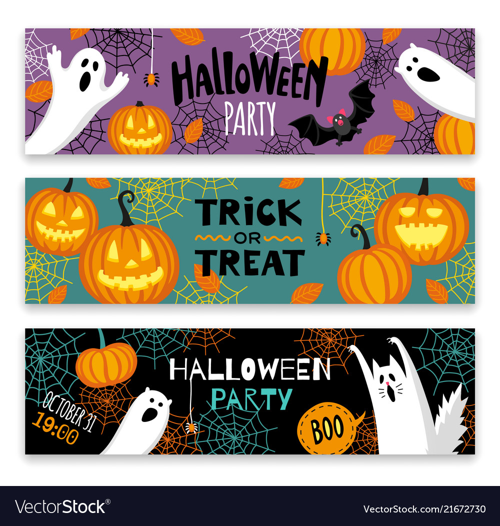 Collection of halloween banner templates
