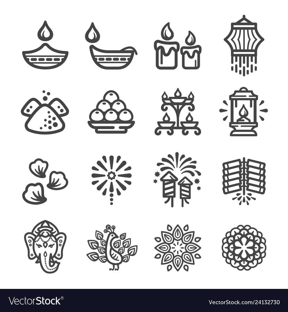 Diwali icon set