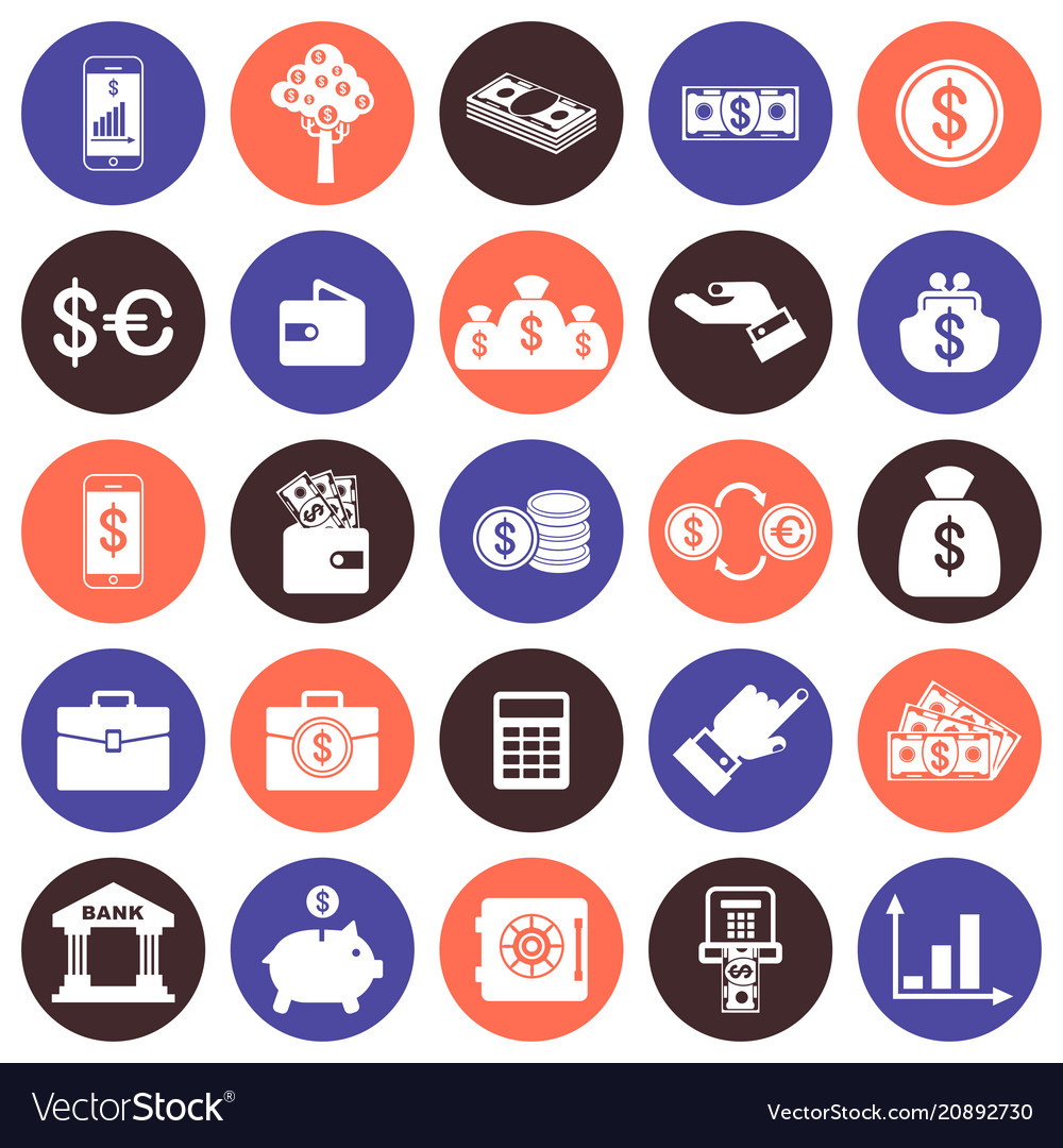 Financial flat icons set