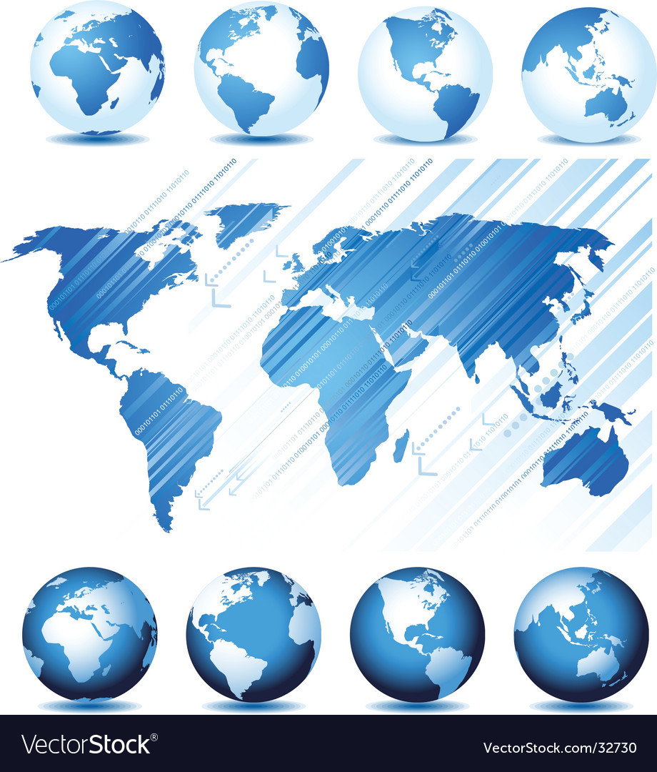 Globe and map background vector image