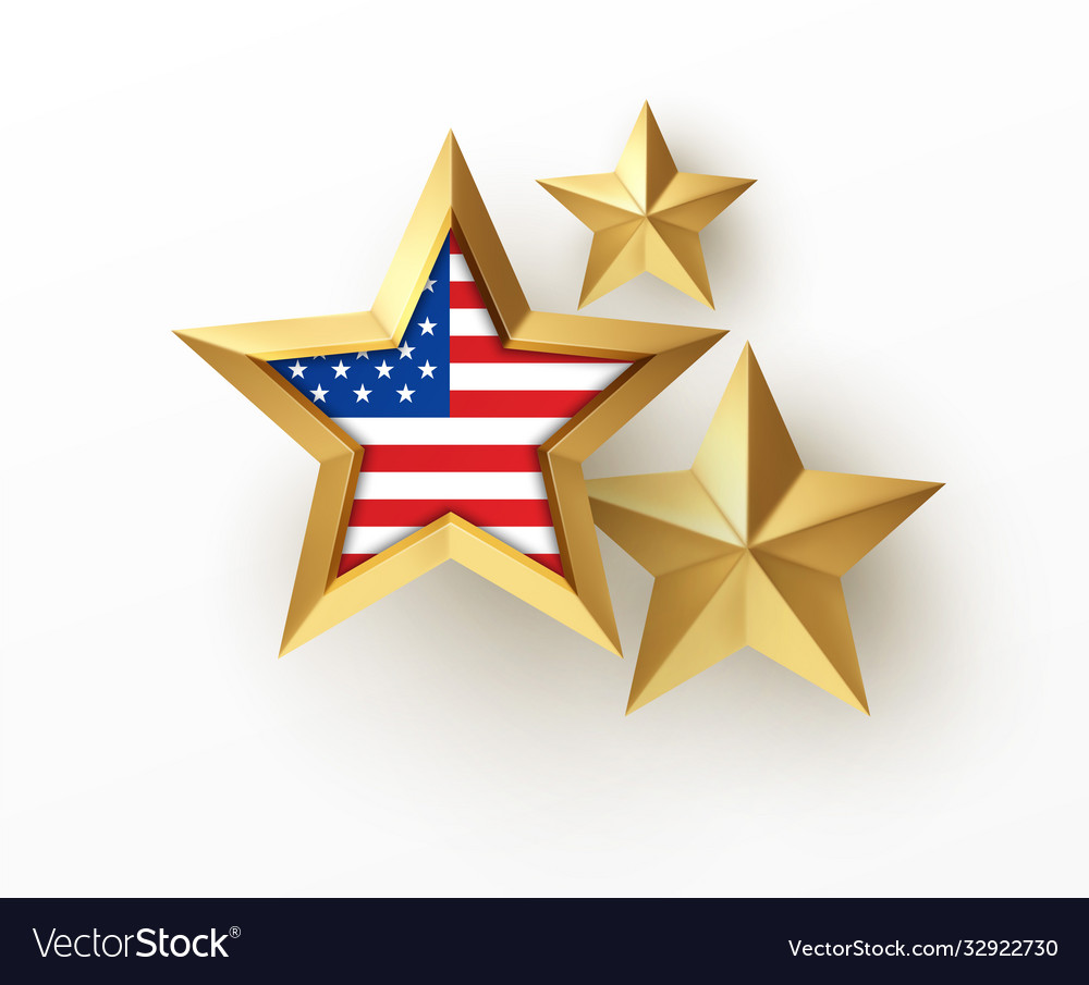 Golden realistic 3d star with american flag