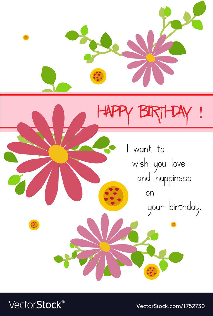 Happy Birthday With Flowers Vector Image