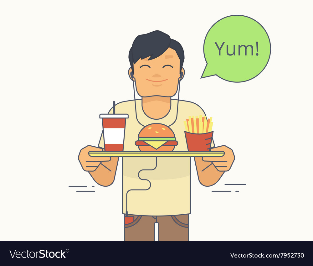 Happy guy holds a tray with big hamburger french vector image