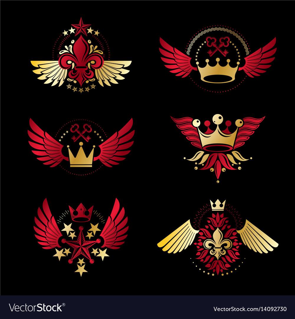 Imperial crowns and vintage stars emblems set
