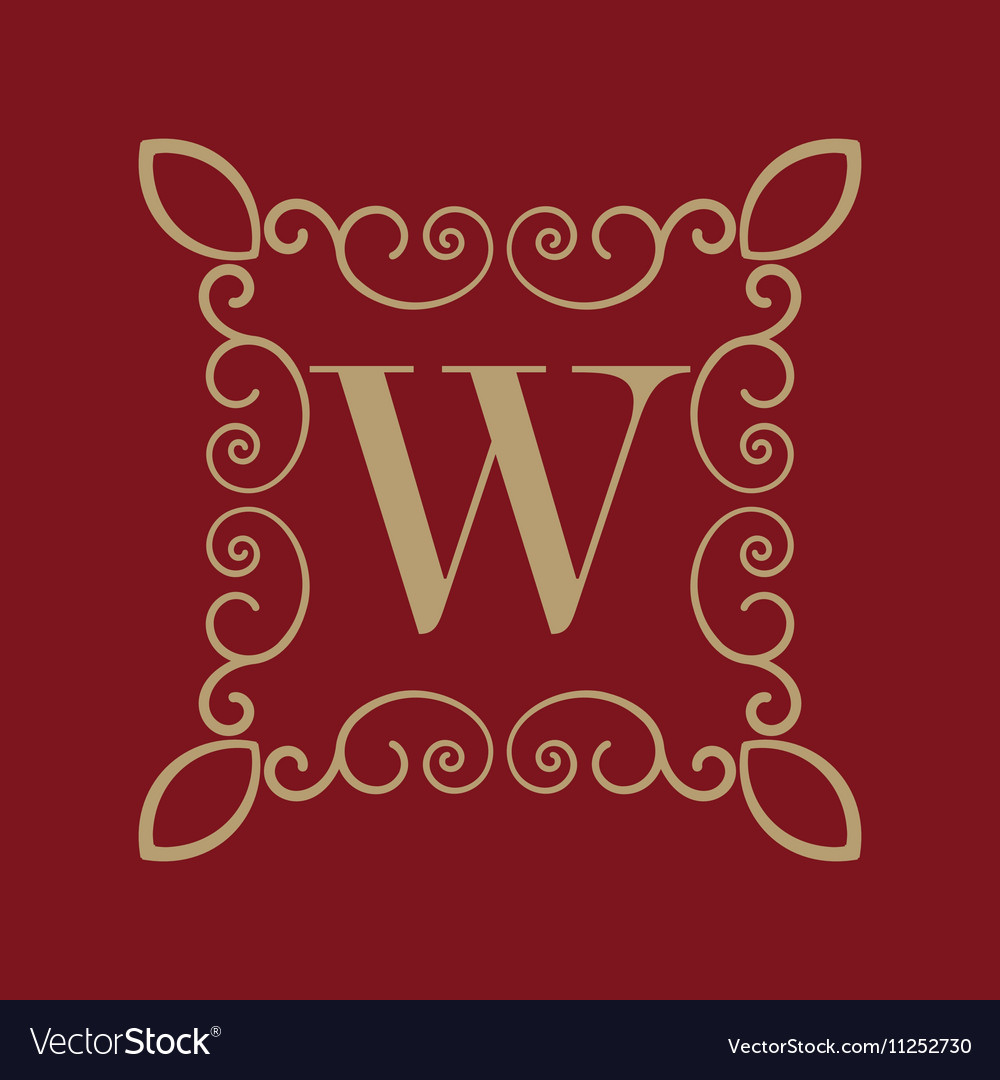Monogram letter W Calligraphic ornament Gold