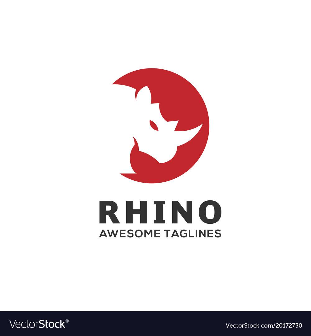 Rhino circle logo vector image