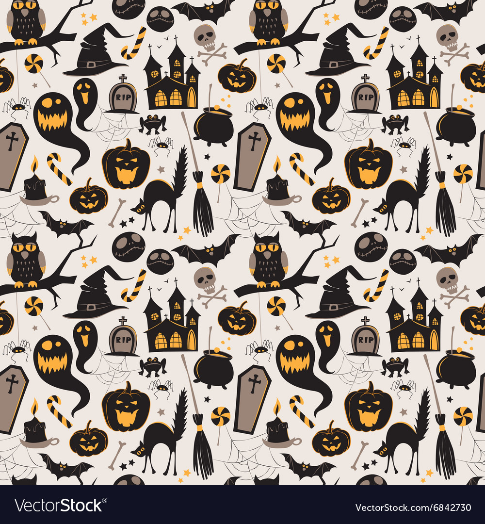 Seamless pattern Of Vintage Happy Halloween flat