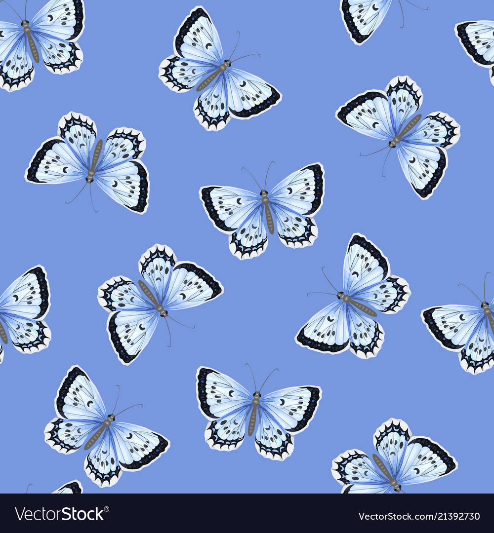 Seamless pattern with blue watercolor butterflies