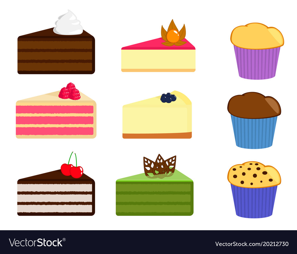 Set of cake slices and muffins