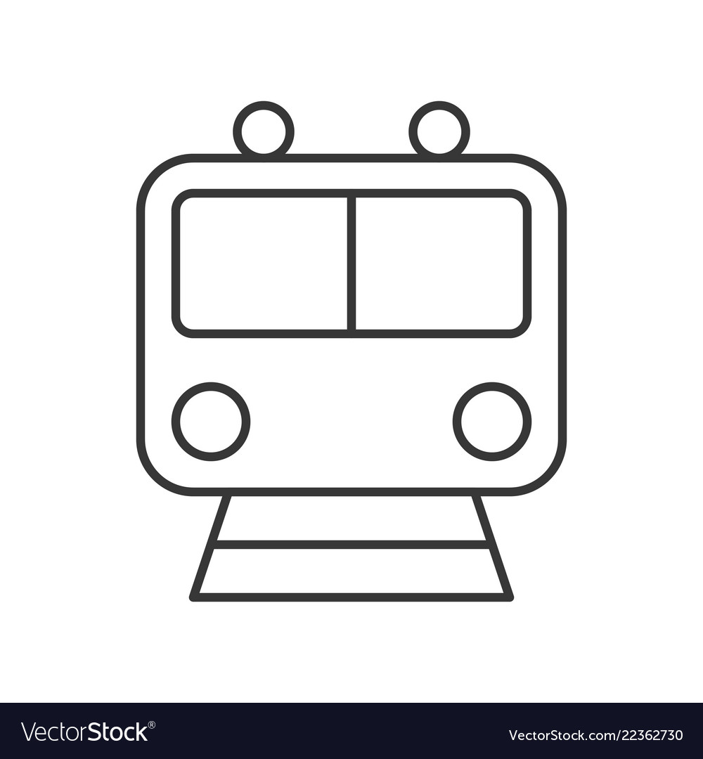 Train icon sign front view outline design