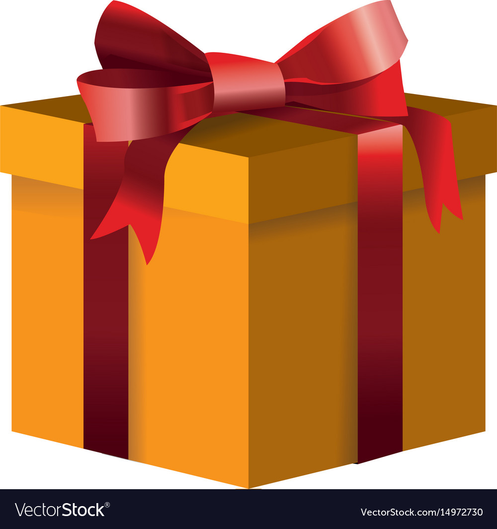 Yellow gift box decoration ribbon bow wrap