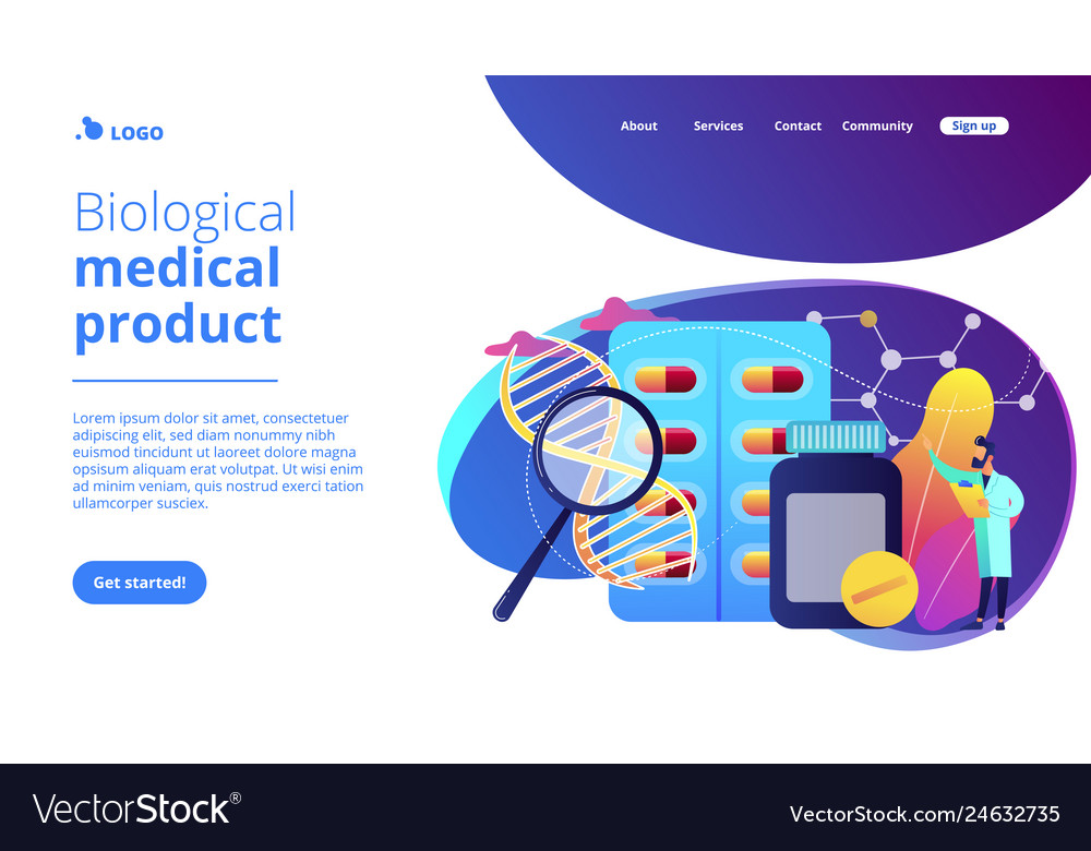 Biopharmacology products concept landing page