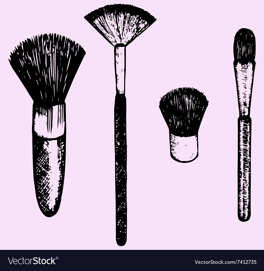 Brush makeup vector image