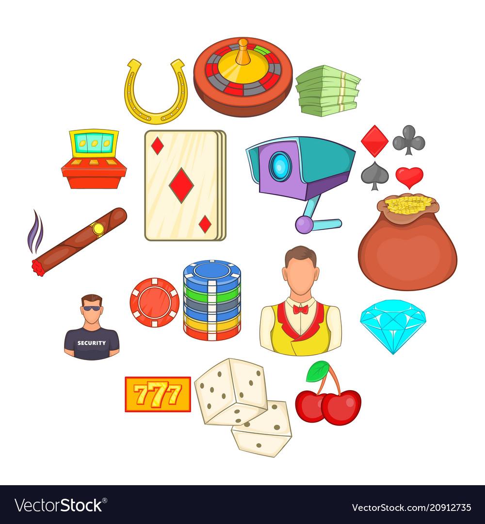 Casino icons set cartoon style