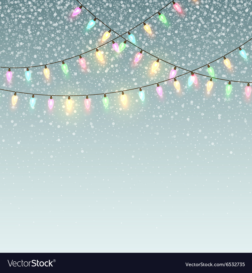 Christmas background with lights and snow