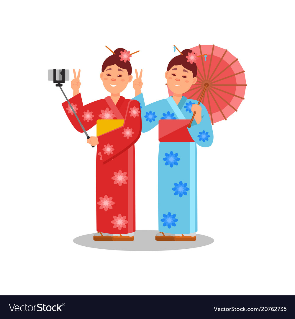 Couple of girls making selfie using smartphone and vector image