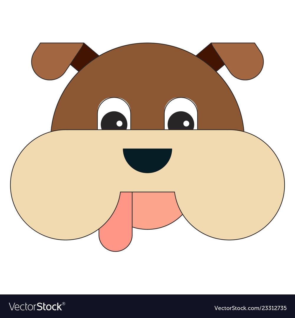 Dog head in cartoon flat style