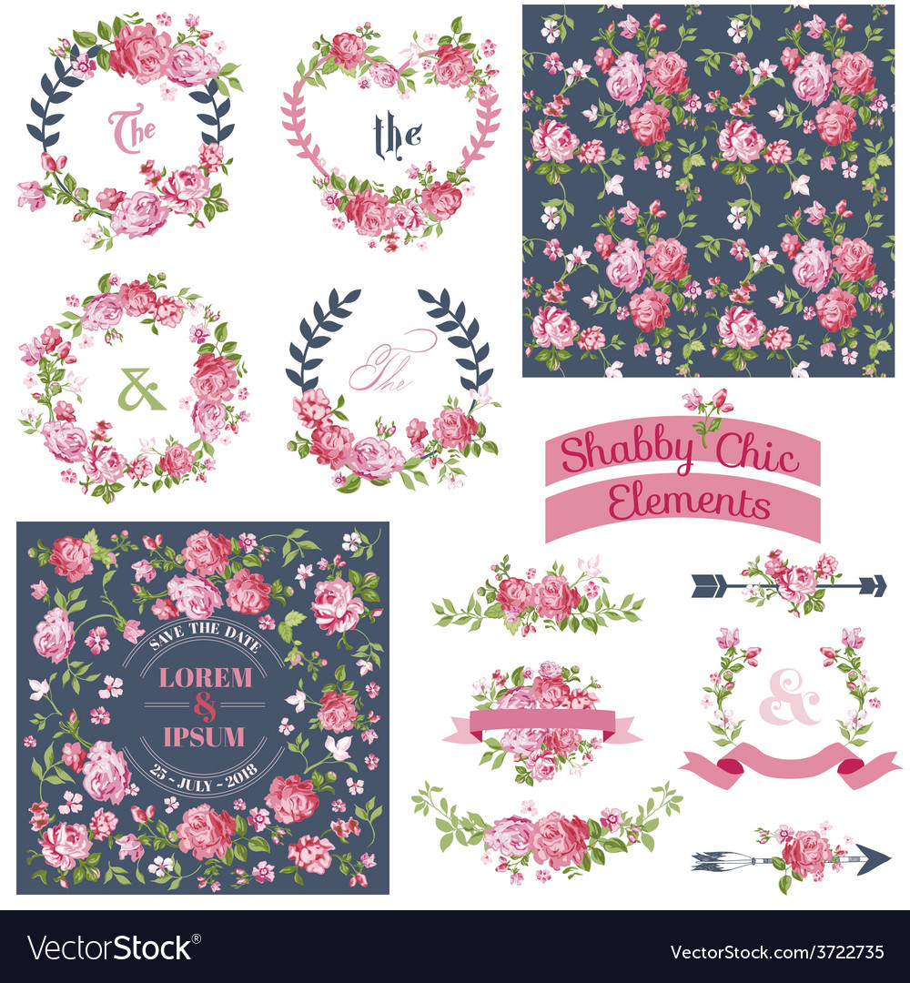 Floral Set - Frames Ribbons Backgrounds vector image