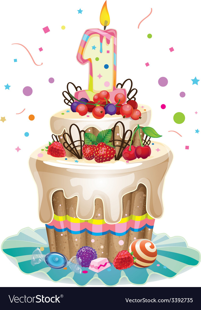 Groovy Happy Birthday Cake 1 Royalty Free Vector Image Birthday Cards Printable Benkemecafe Filternl