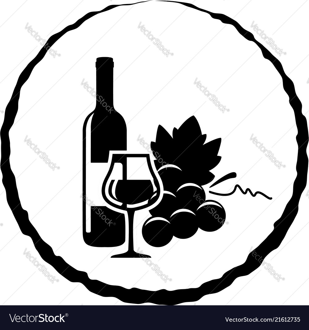 Icon of red wine bottle glass and grapes
