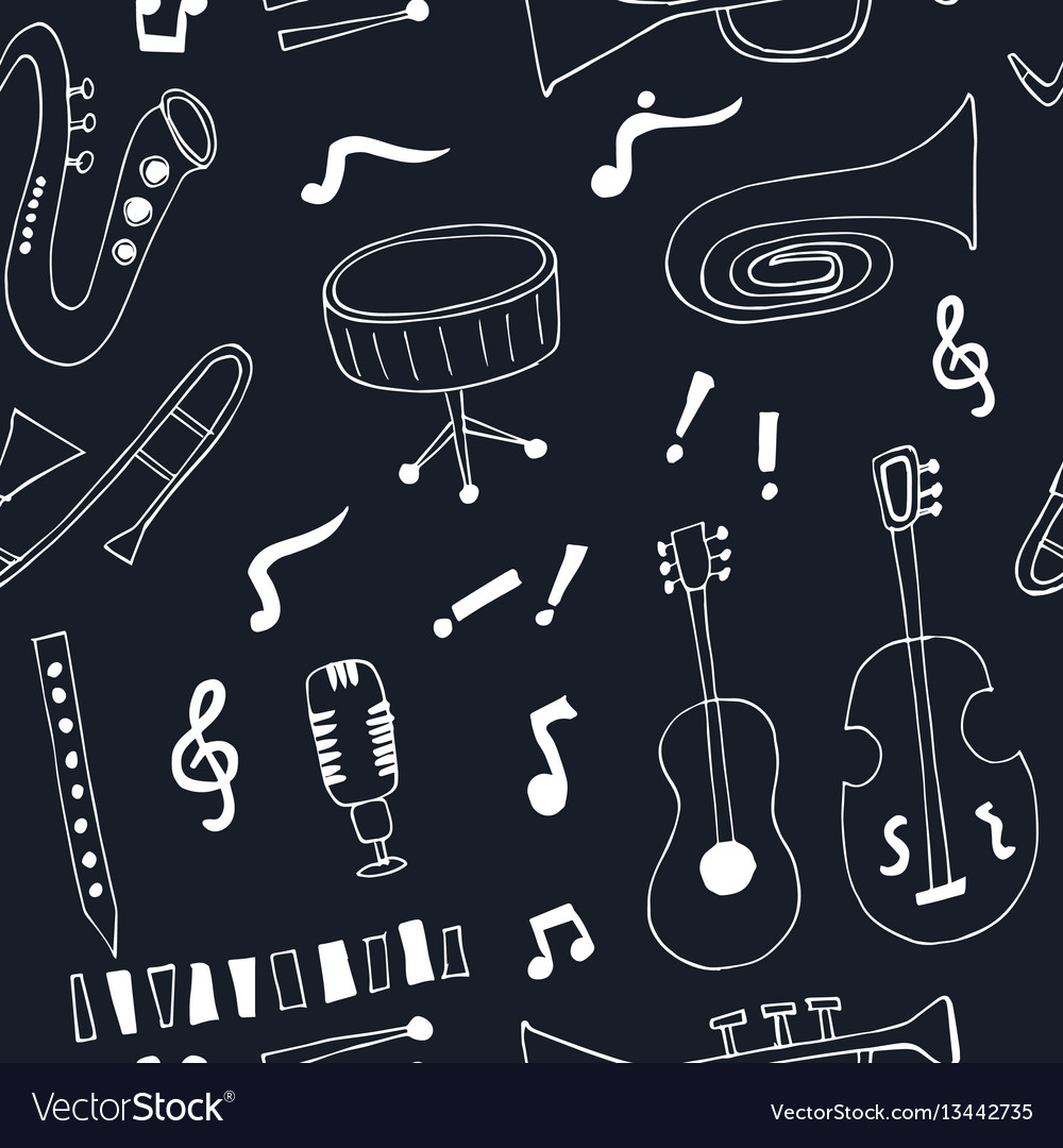 Jazz musical instruments seamless pattern