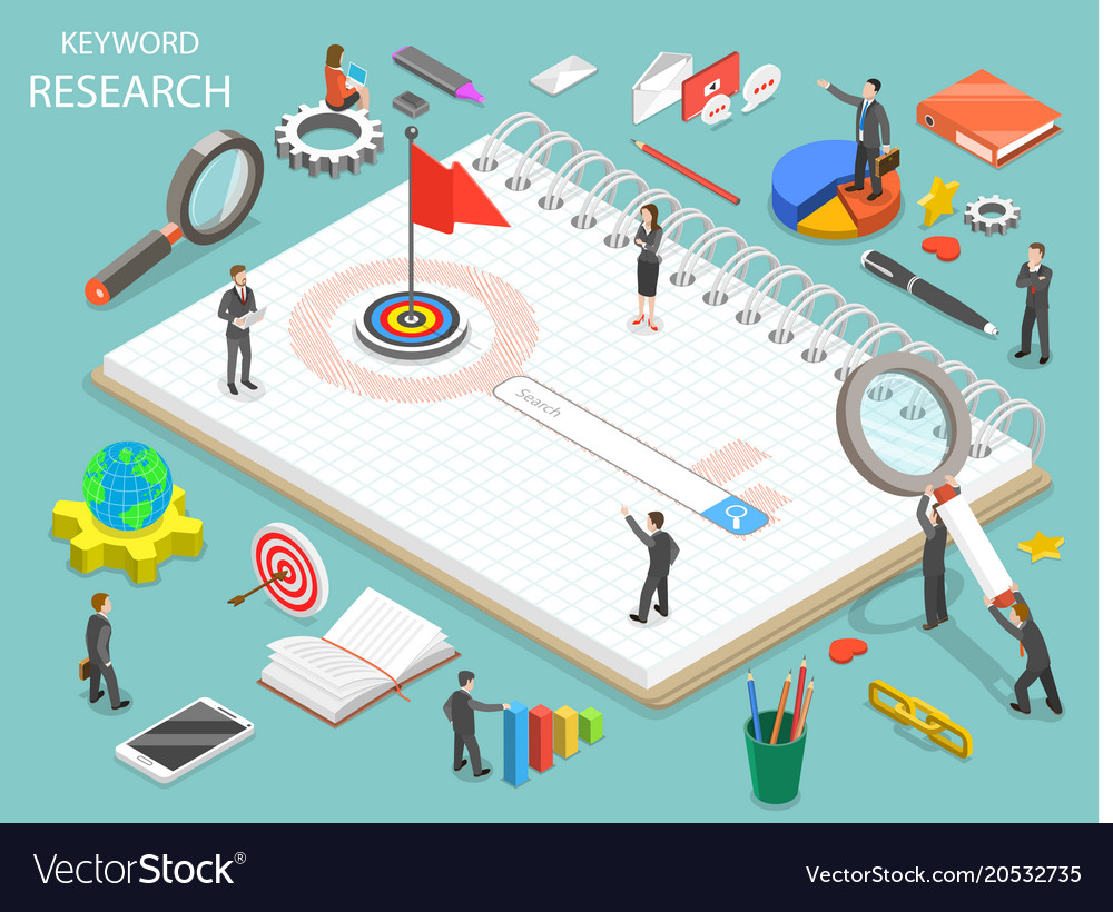 Keyword research flat isometric concept