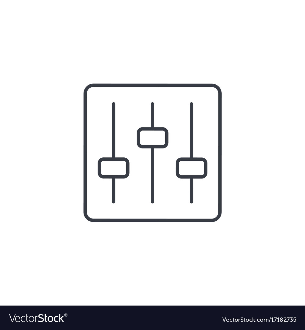 Mixer Music Equalizer Setup Thin Line Icon Vector Image
