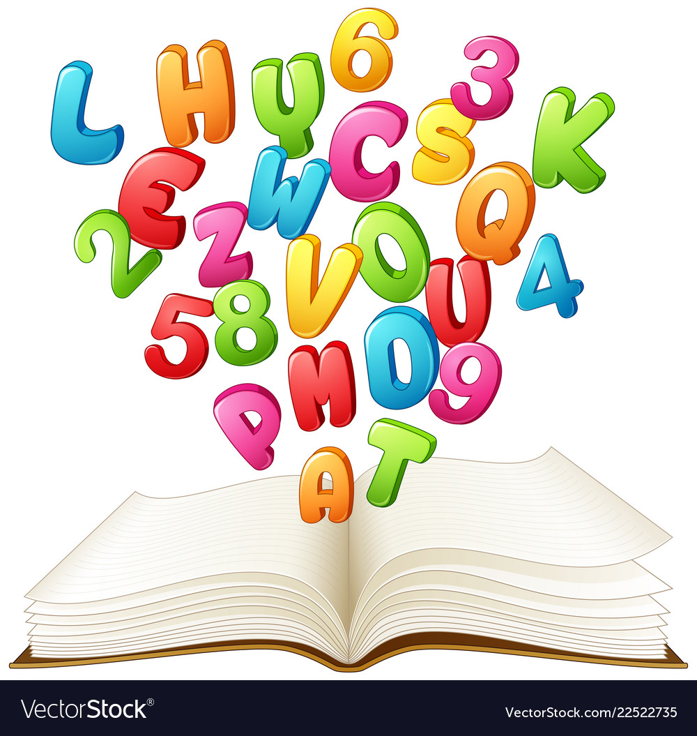 Open book with a colorful letter and number