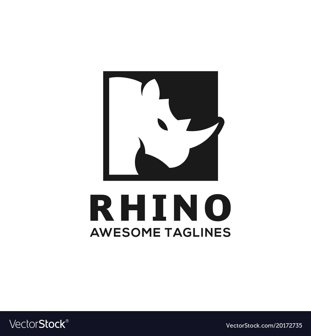 Rhino square logo vector image