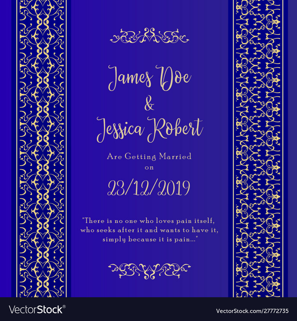 Royal wedding invitation card template Royalty Free Vector