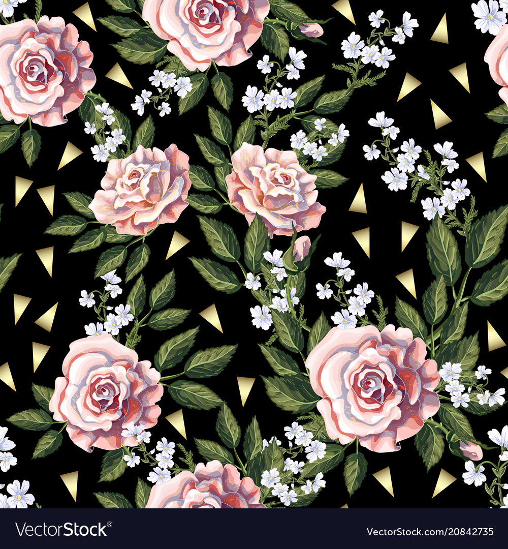 Seamless pattern with pink roses leaves